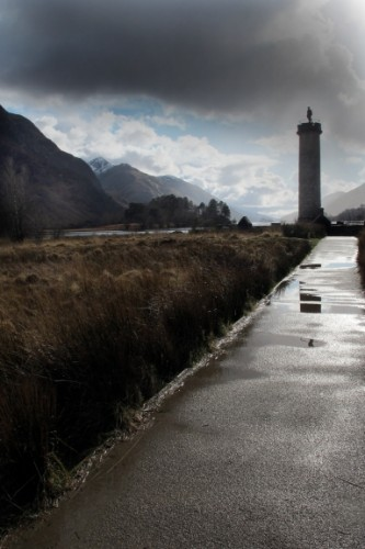 The memorial to Bonnie Prince Charlie on Loch Shiel. It had just finished raining.