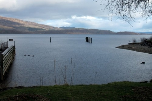 Loch Lomond in the evening. It was raining.
